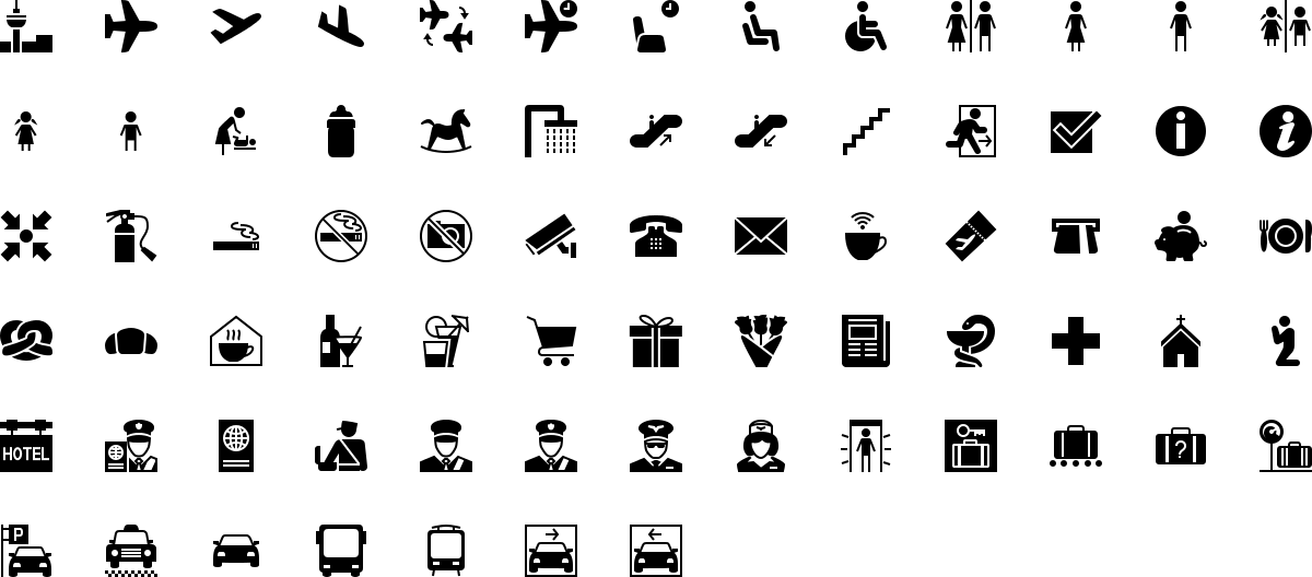 Airport icons in fill style
