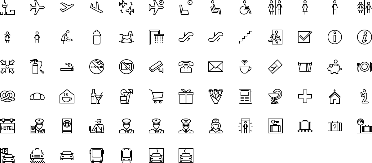 Airport icons in outline style