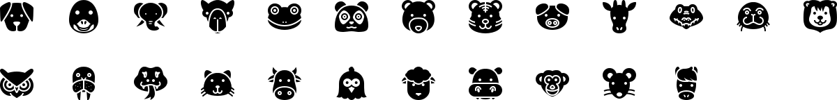 Animals icons in fill style