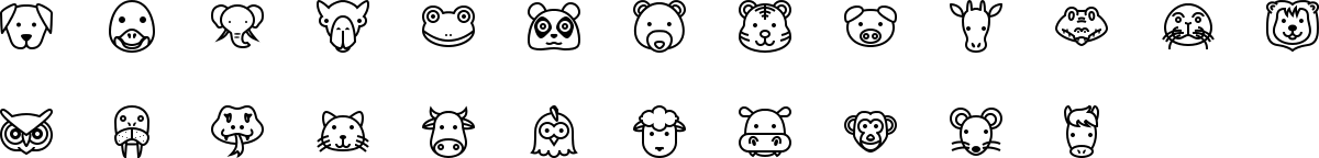 Animals icons in outline style