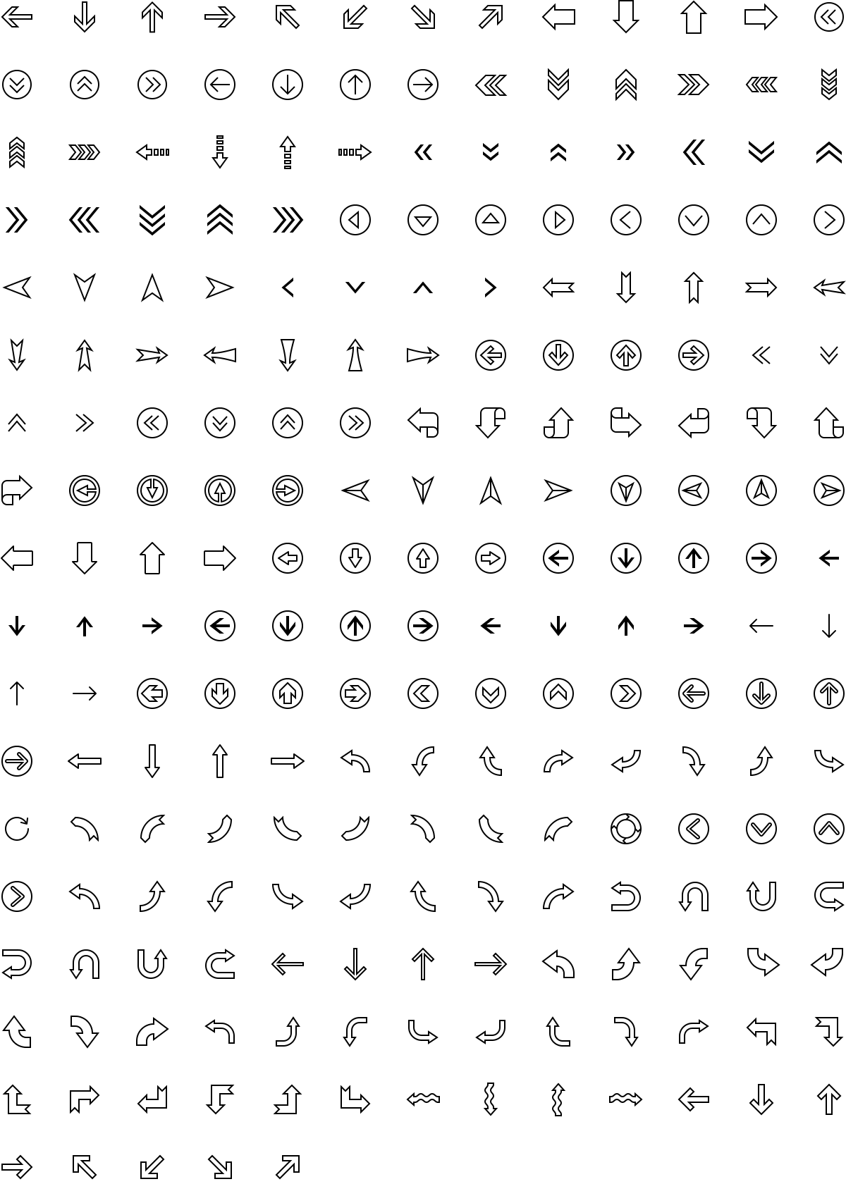 Arrows icons in outline style