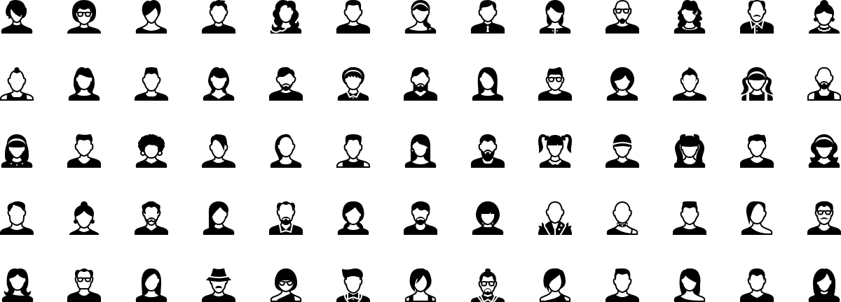 Avatars icons in fill style