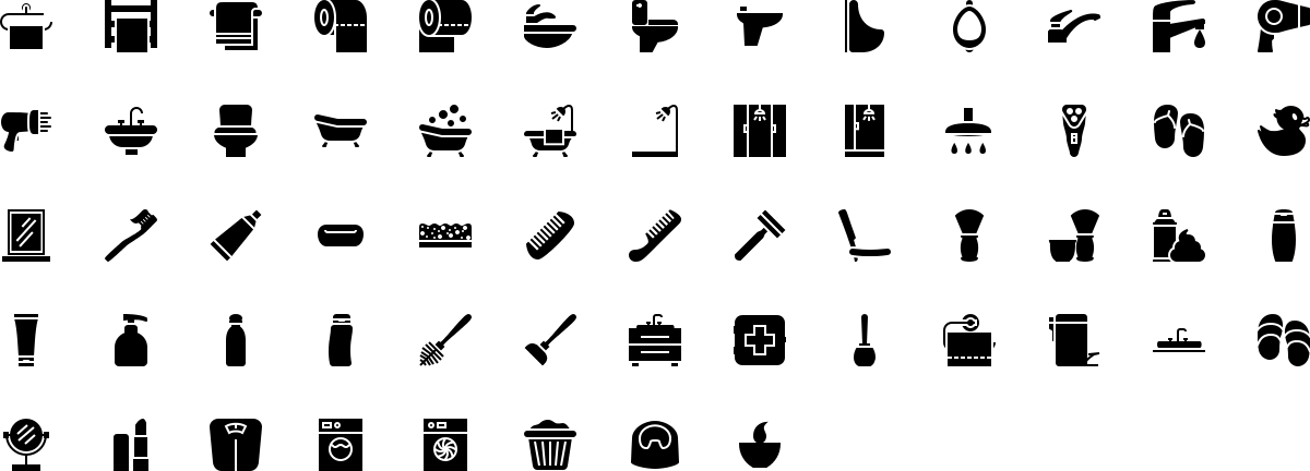 Bathroom icons in fill style