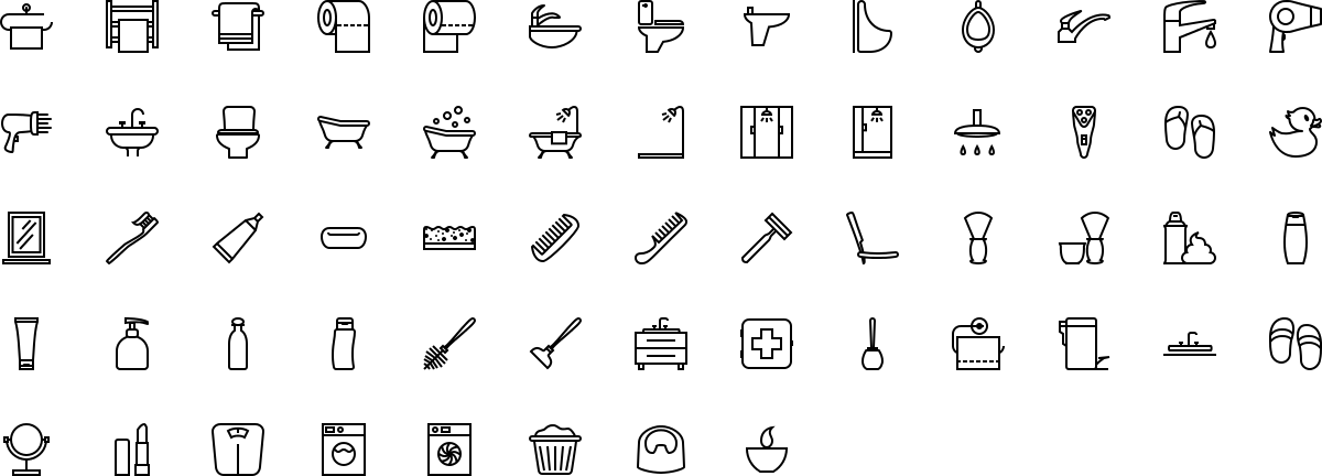 Bathroom icons in outline style