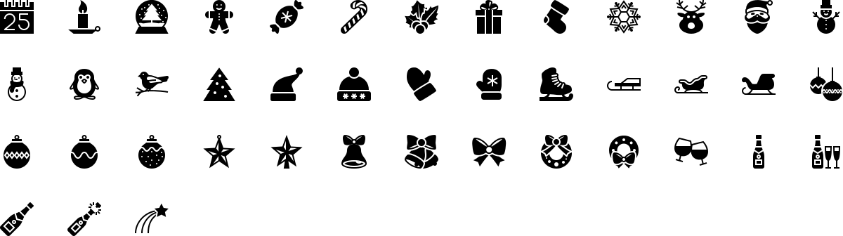 Christmas icons in fill style