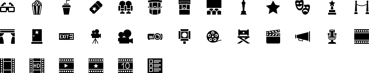 Cinema icons in fill style