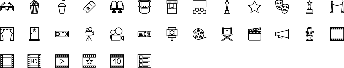 Cinema icons in outline style