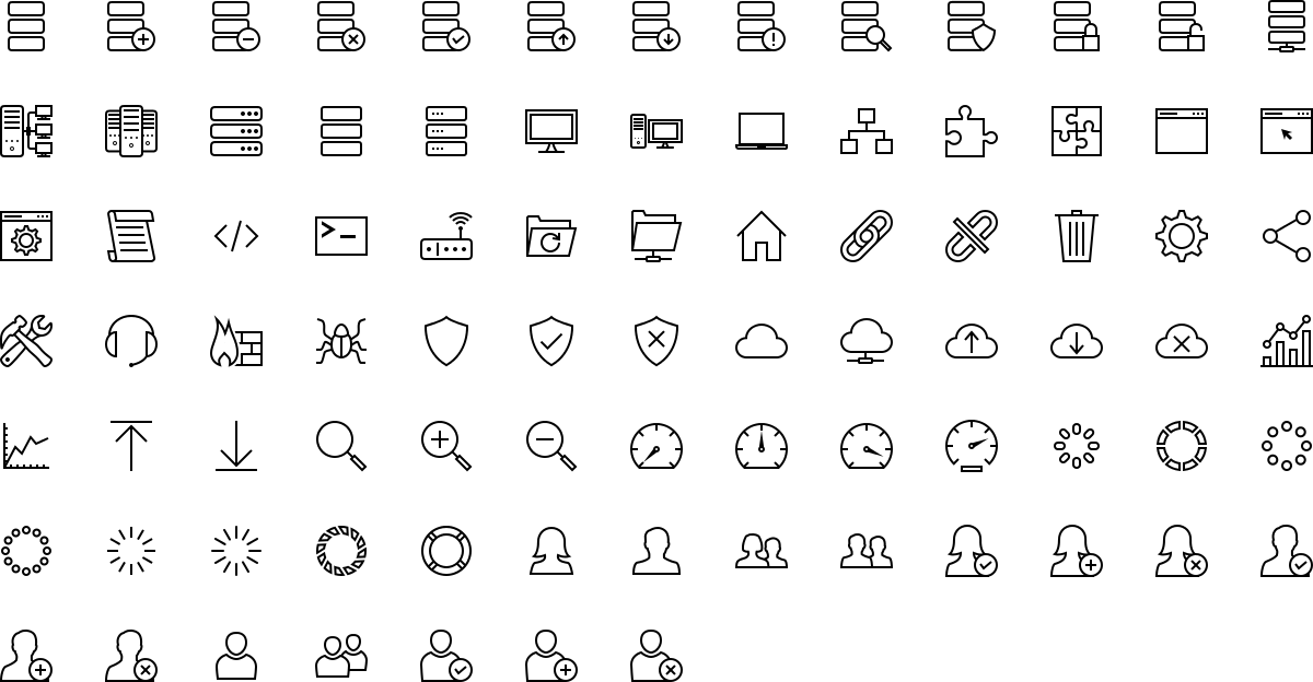 Database and networking icons in outline style