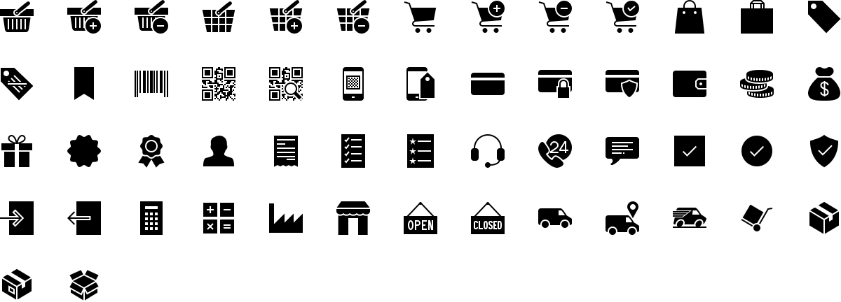 E-commerce icons in fill style