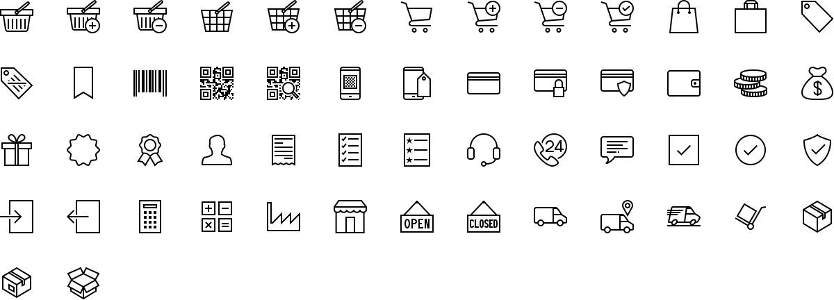 E-commerce icons in outline style