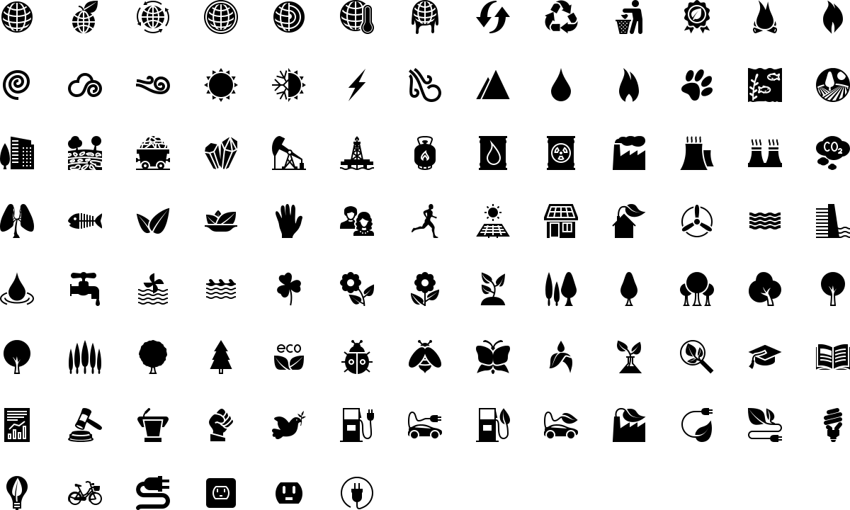 Ecology icons in fill style