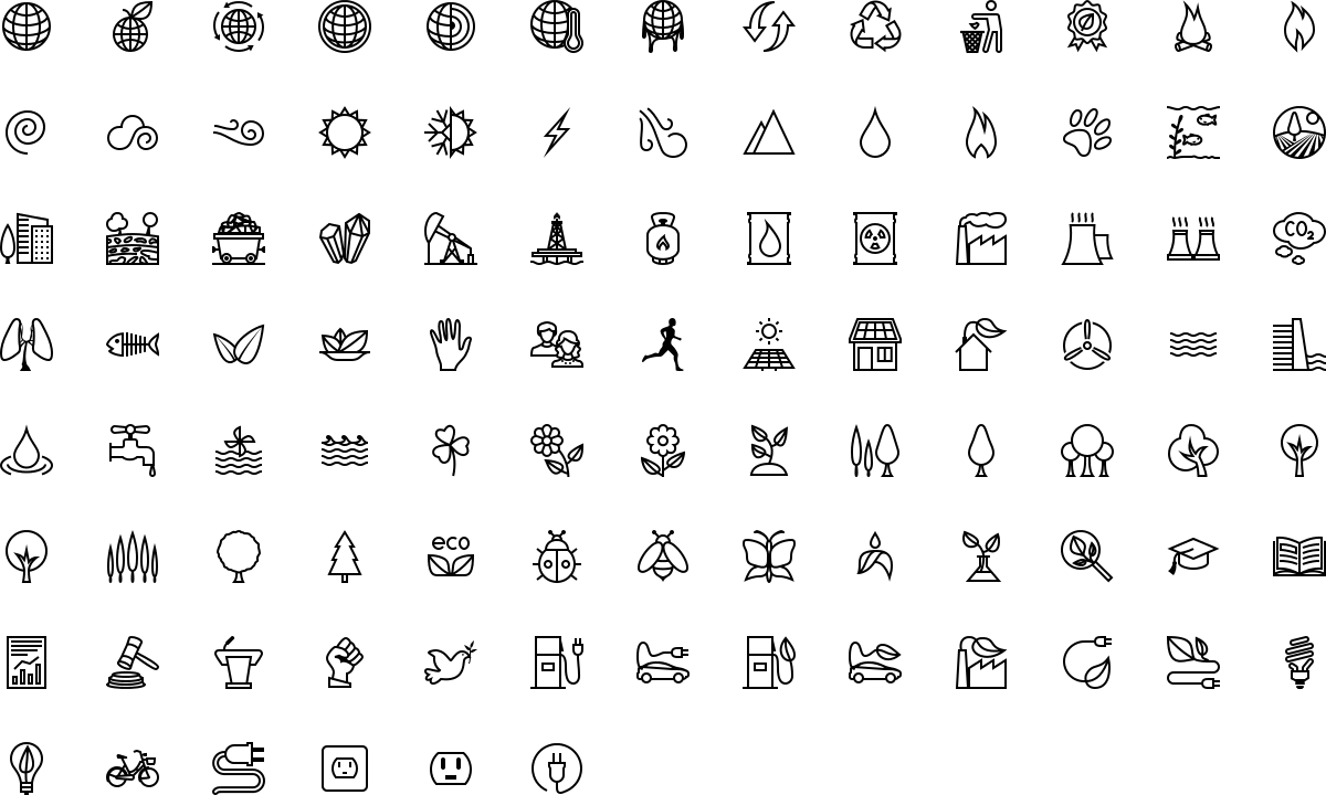 Ecology icons in outline style
