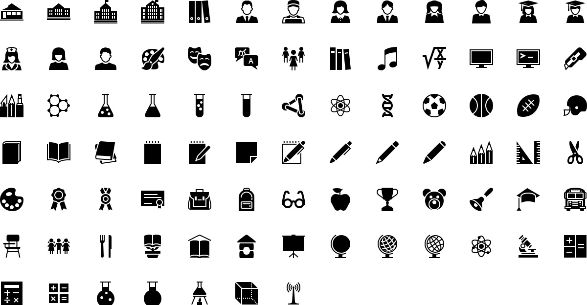 Education icons in fill style
