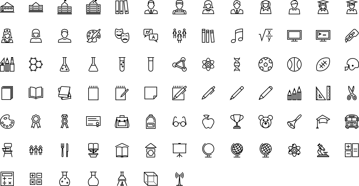 Education icons in outline style