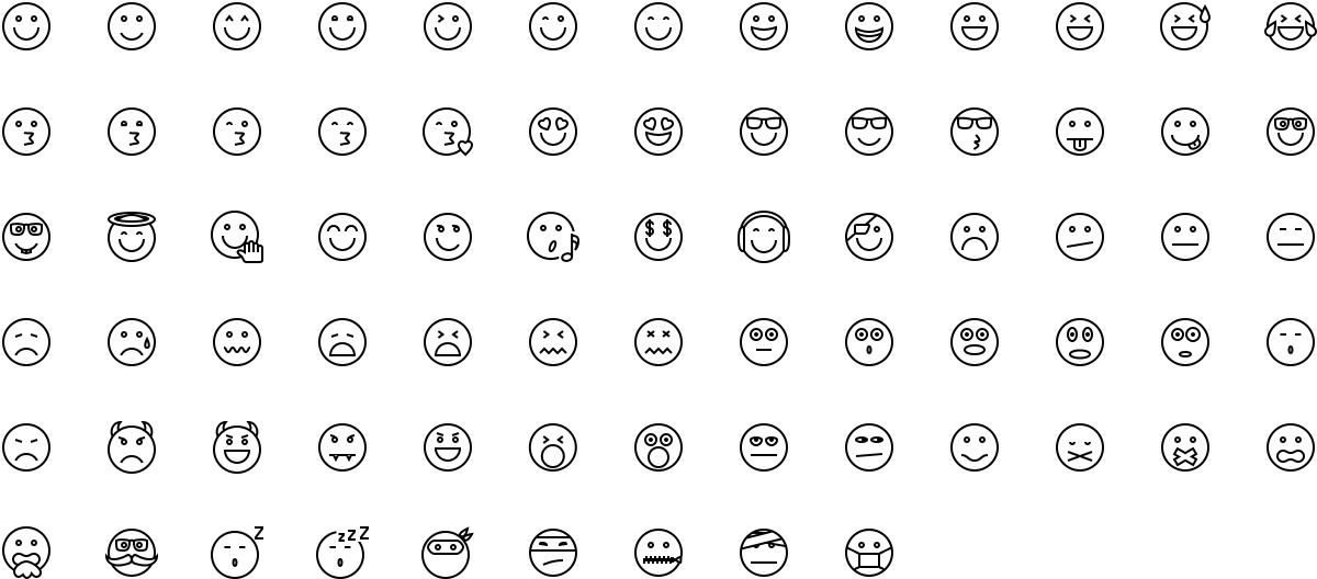 Emoticons icons in outline style