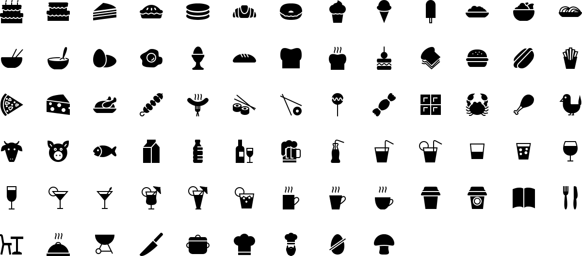 Food icons in fill style