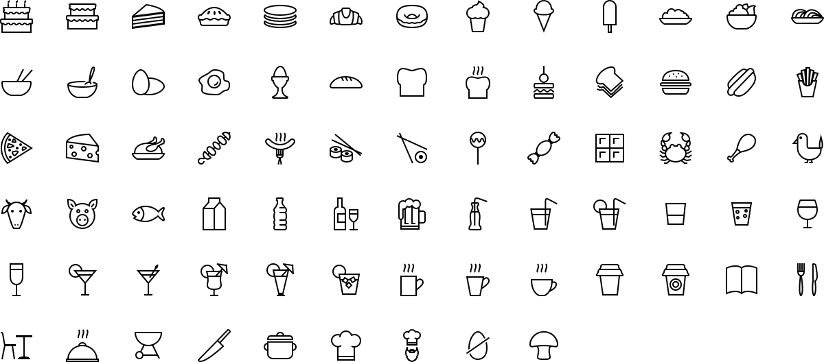 Food icons in outline style