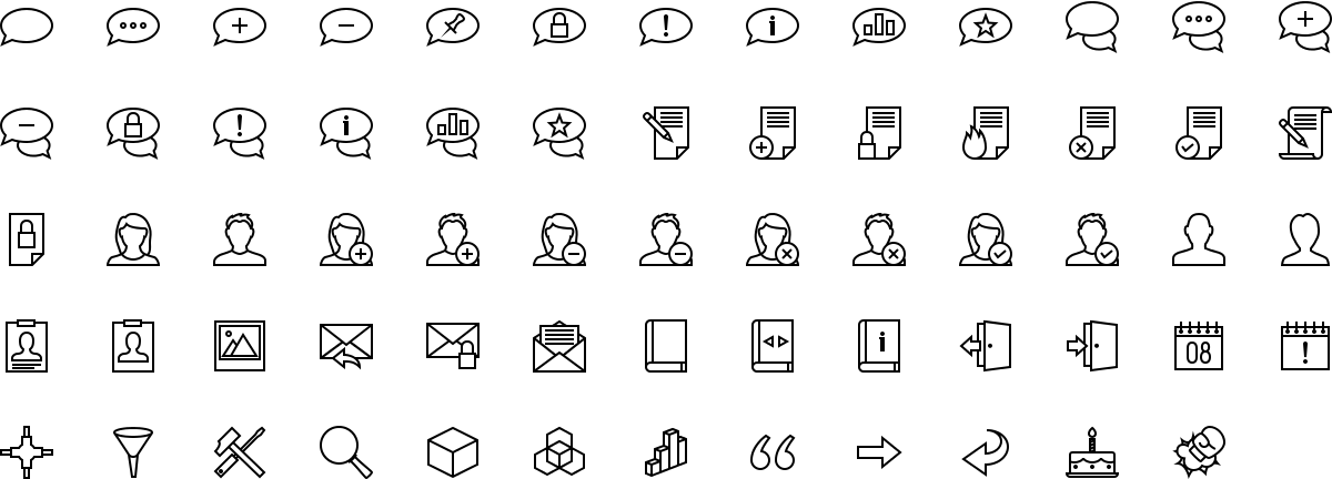 Forum icons in outline style