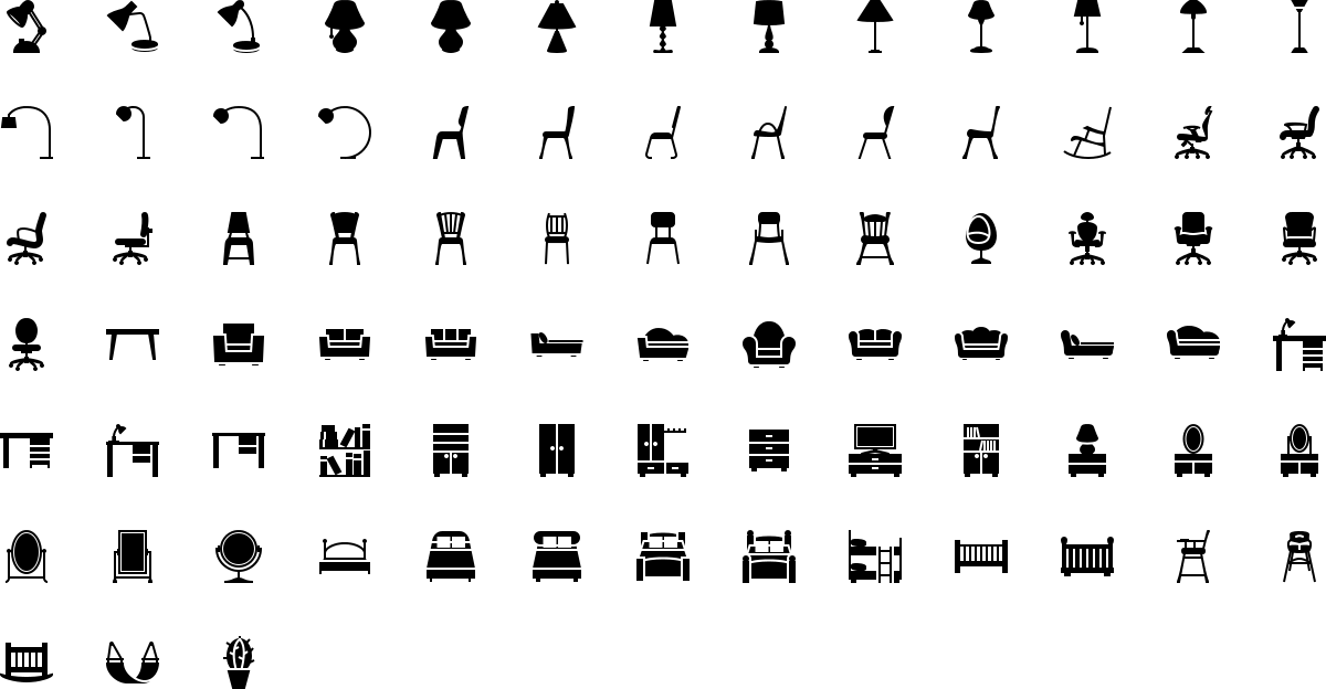 Furniture icons in fill style