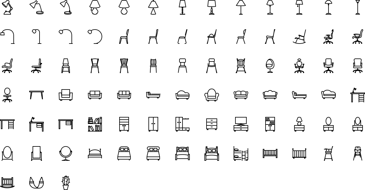 Furniture icons in outline style
