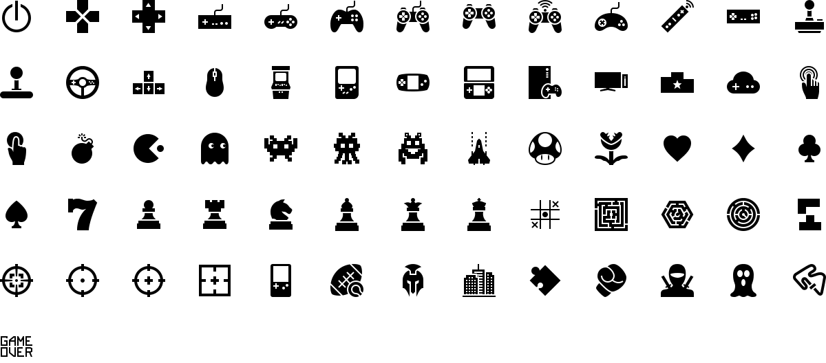 Gaming icons in fill style