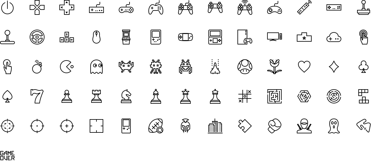 Gaming icons in outline style
