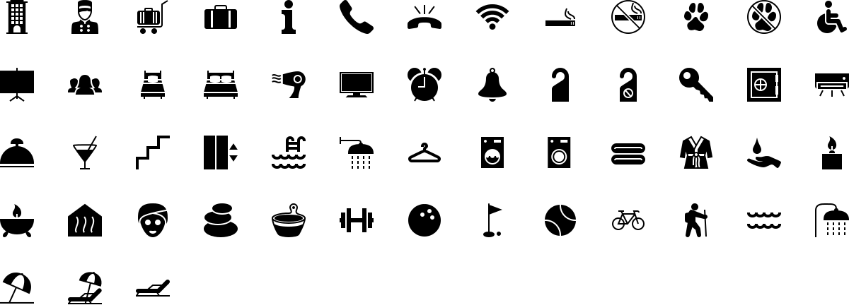 Hotel and Spa icons in fill style