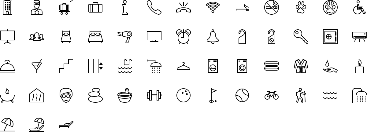 Hotel and Spa icons in outline style