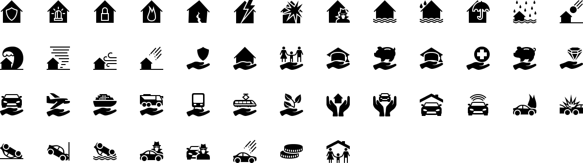 Insurance icons in fill style