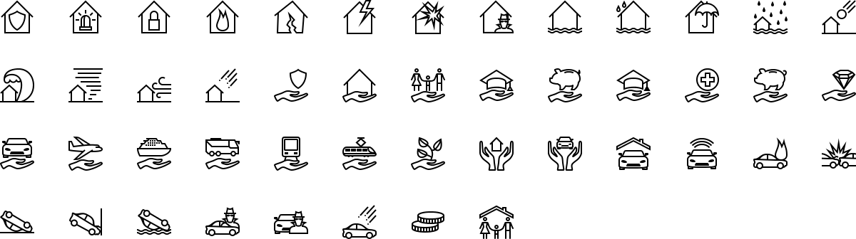 Insurance icons in outline style