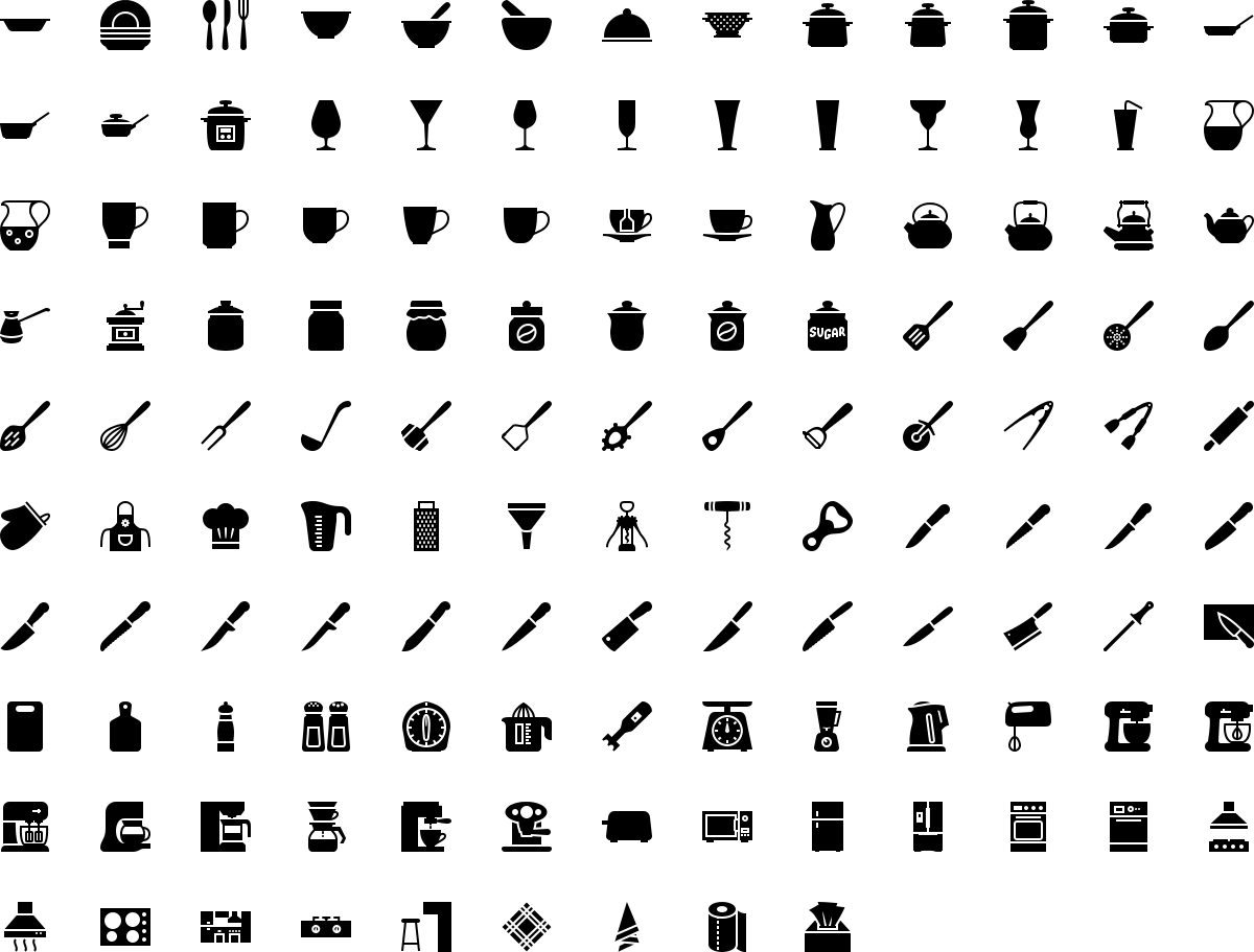 Kitchen icons in fill style