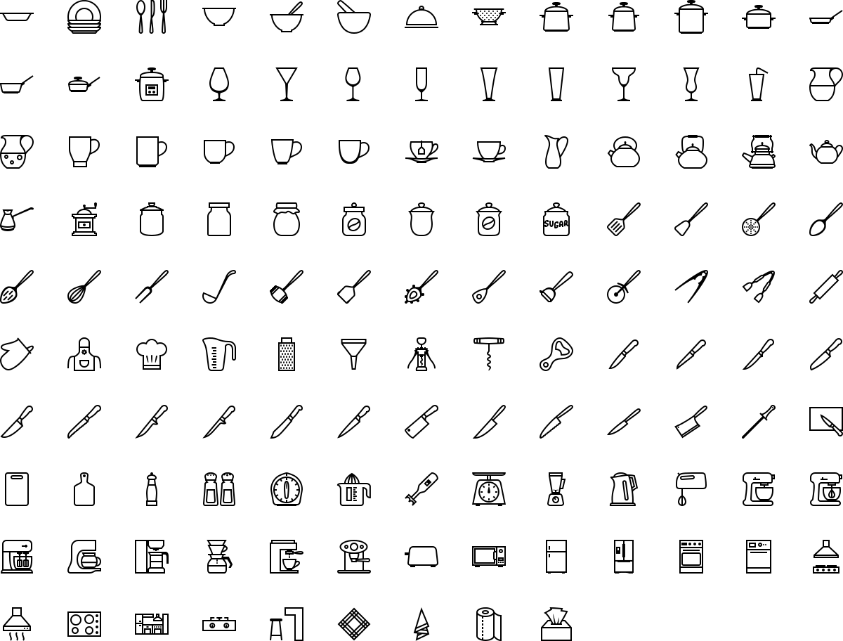 Kitchen icons in outline style