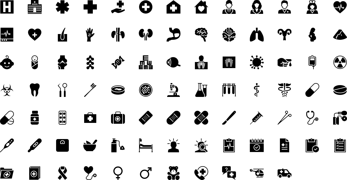 Medicine icons in fill style
