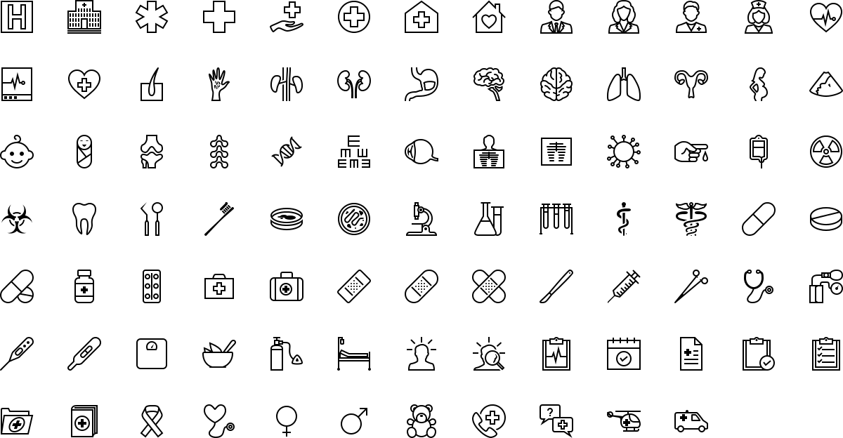 Medicine icons in outline style