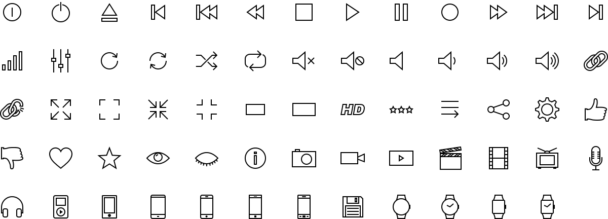 Multimedia icons in outline style