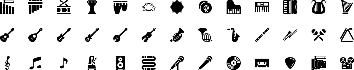 Musical instruments icons in fill style