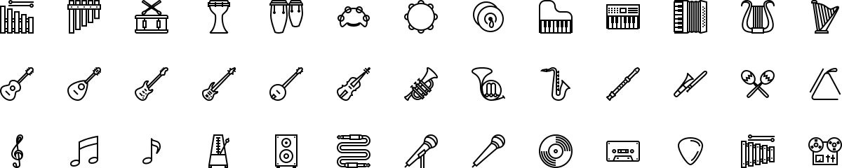 Musical instruments icons in outline style