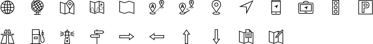 Navigation icons in outline style