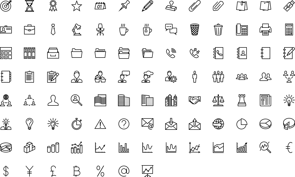 Office and business icons in outline style