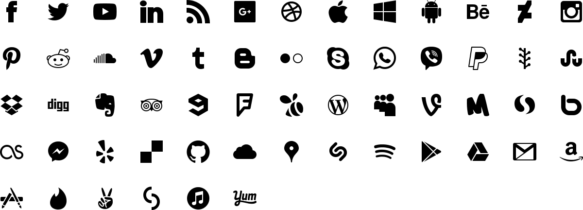 Social media icons in fill style