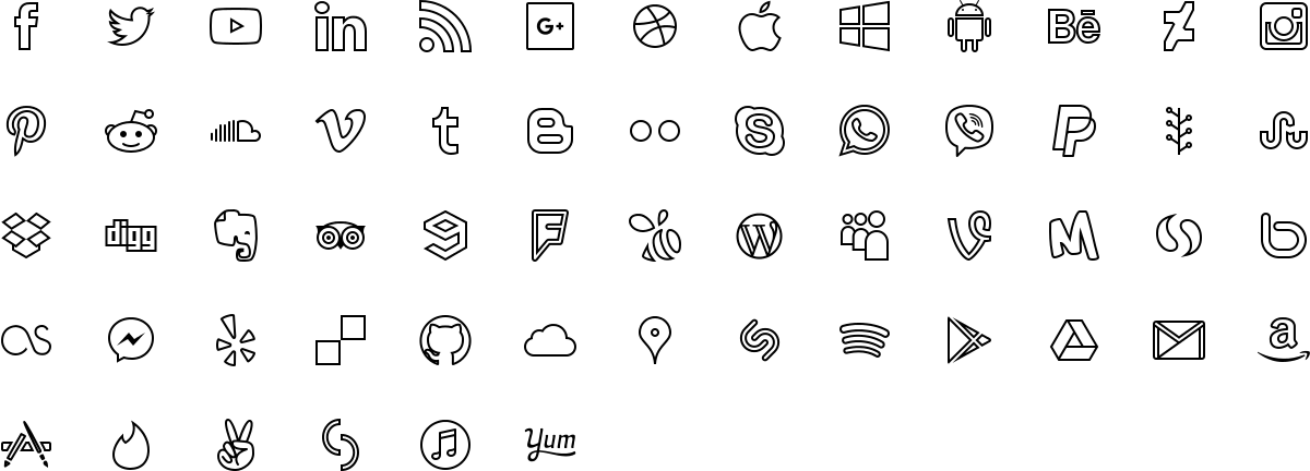 Social media icons in outline style