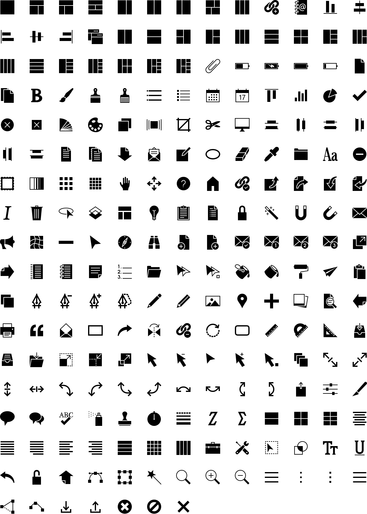 Software icons in fill style