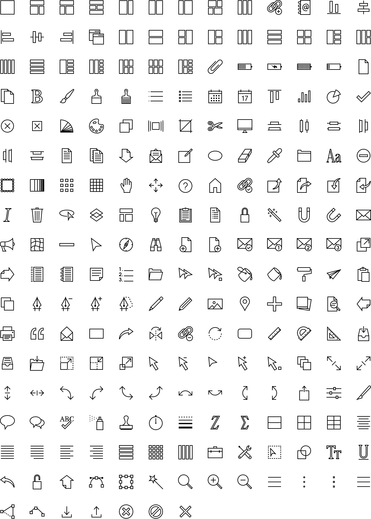 Software icons in outline style