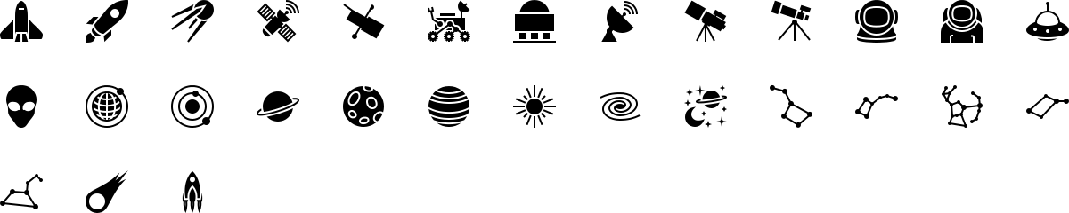Space icons in fill style