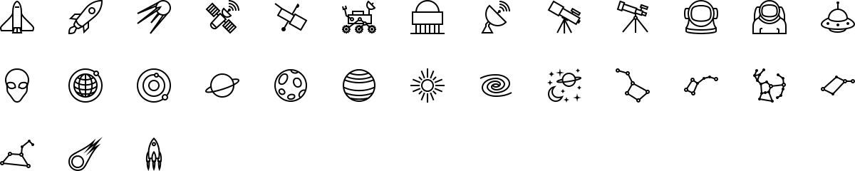 Space icons in outline style