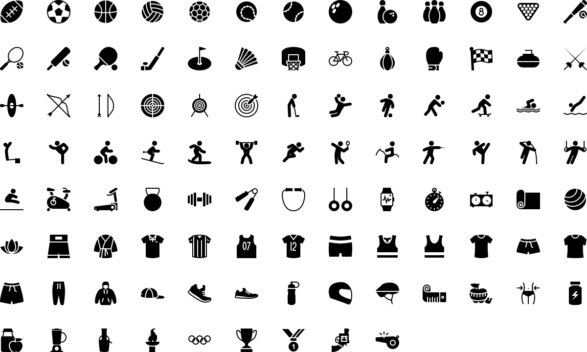 Sport and fitness icons in fill style