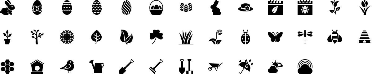 Spring icons in fill style