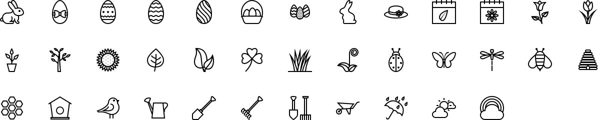Spring icons in outline style