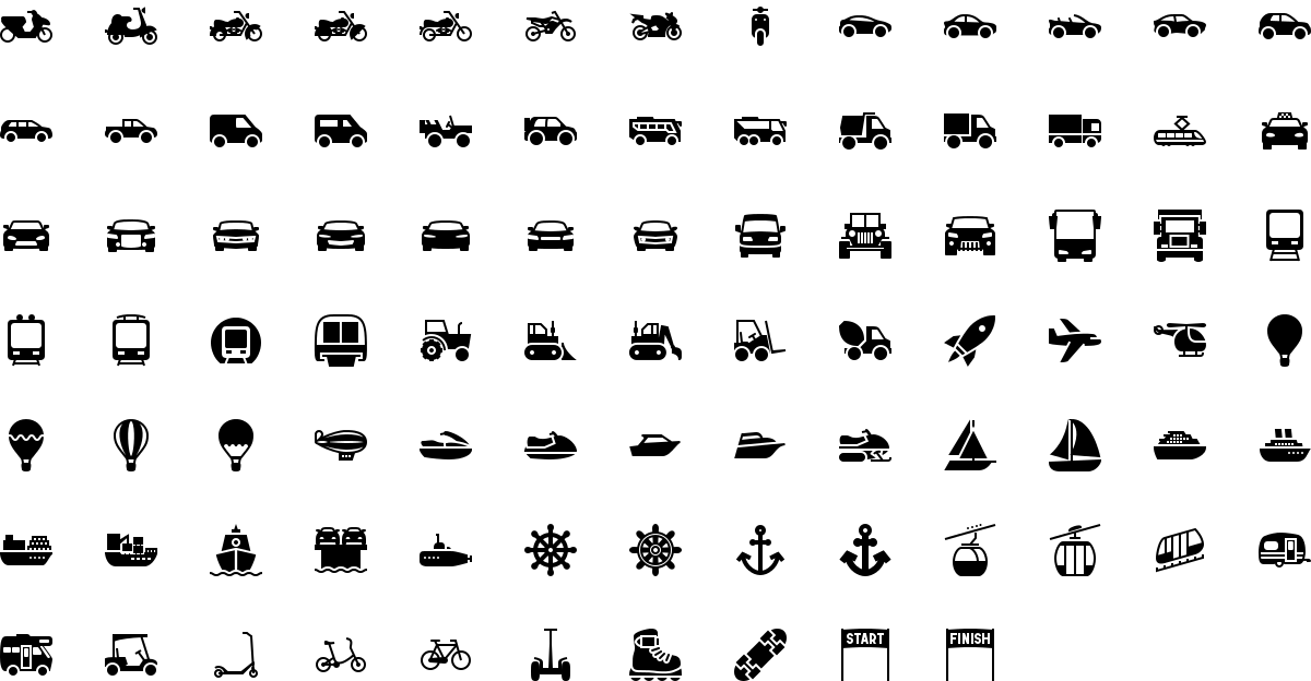 Transport icons in fill style
