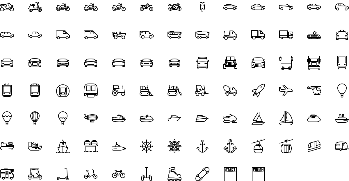 Transport icons in outline style